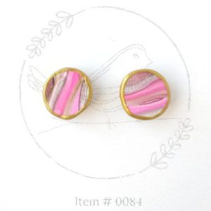 hot pink marbled button earrings