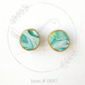 teal marbled button earrings