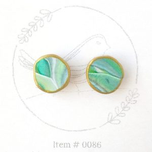 bright teal and green marbled button earrings