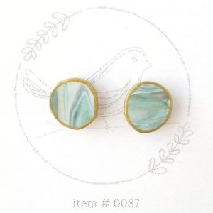 hazy teal marbled button earrings