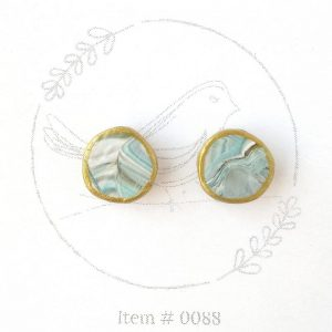 teal and brown marbled button earrings