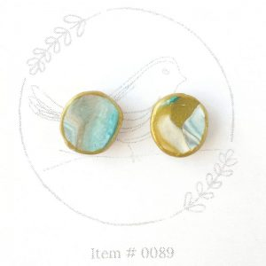 teal and gold marbled button earrings