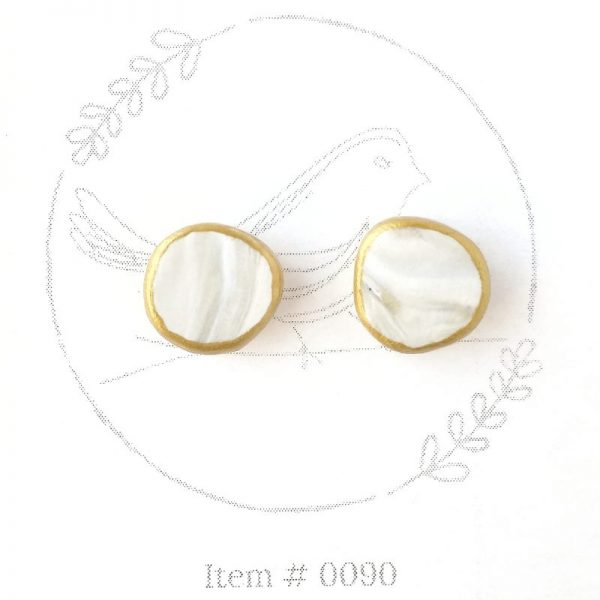 ivory marbled button earrings