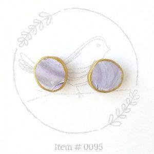 purple marbled button earrings