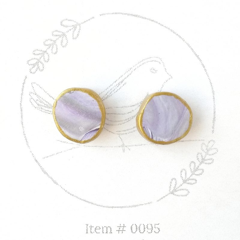 purple marbled button earrings