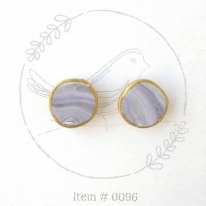 purple swirl button earrings 0096