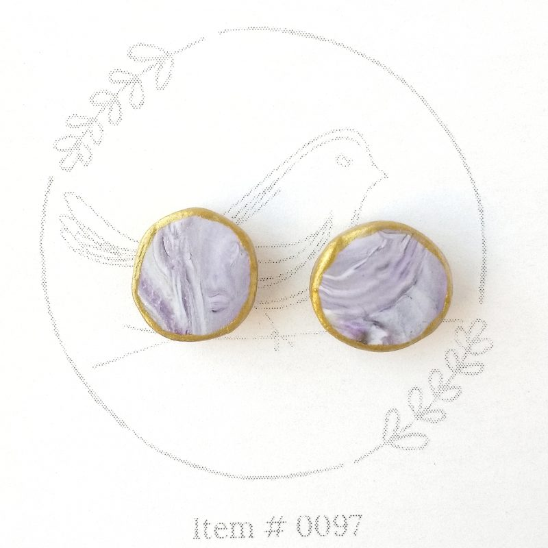 purple marbled button earrings 0097