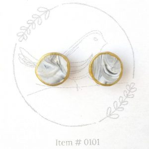 grey & gold marbled button earrings