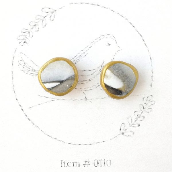 gold, black & grey marbled button earrings
