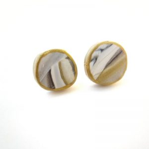 Gold, Black, & Grey Marbled Button Earrings