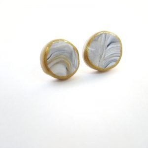 Grey and Gold Marbled Button Earrings