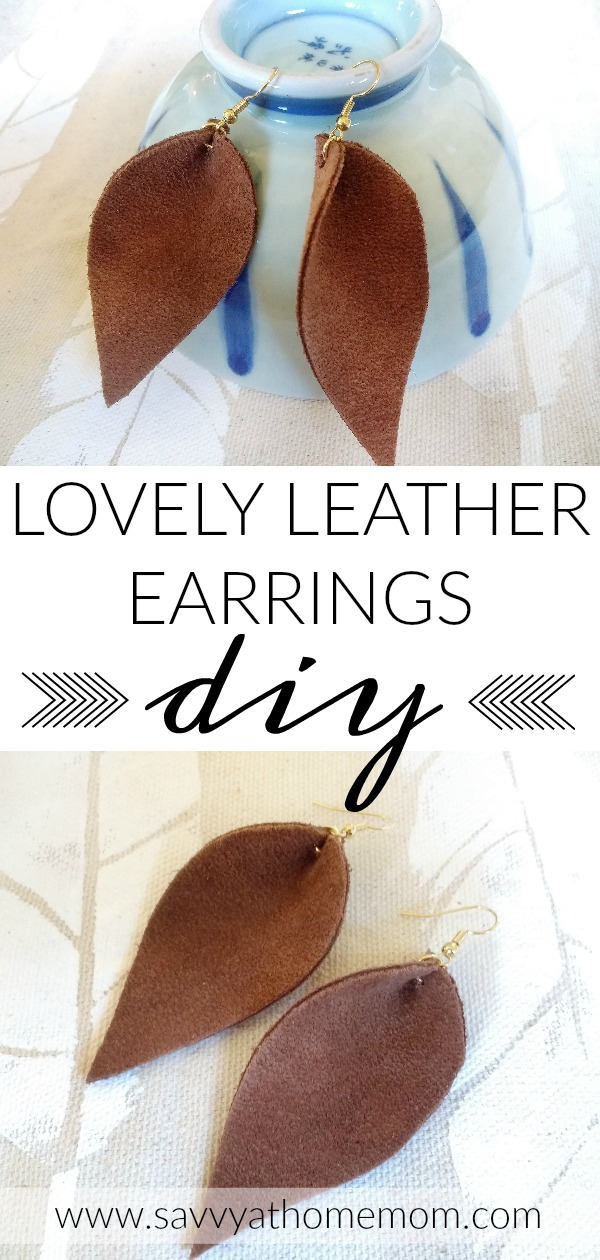 these reverse teardrop leather earrings are so cute and so easy to make