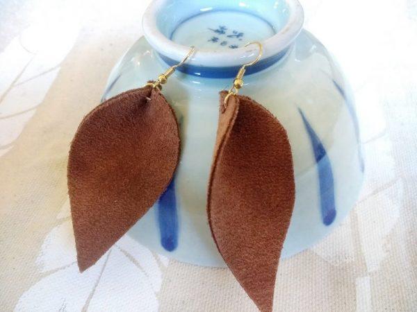 reverse teardrop leather earrings