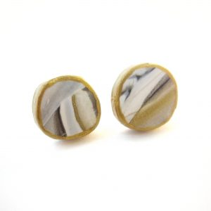 marbled black grey & gold button earrings perfect for moms