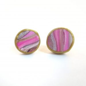 the perfect earrings for moms marbled pink & gold button earrings