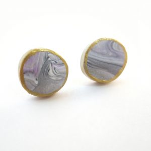 marbled purple & gold button earrings
