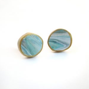 the best earrings for moms marbled turquoise button earrings