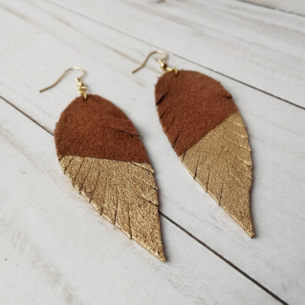 8777270a7cae2d Gold Dipped Leather Earrings - Brown Suede - Savvy At Home Mom