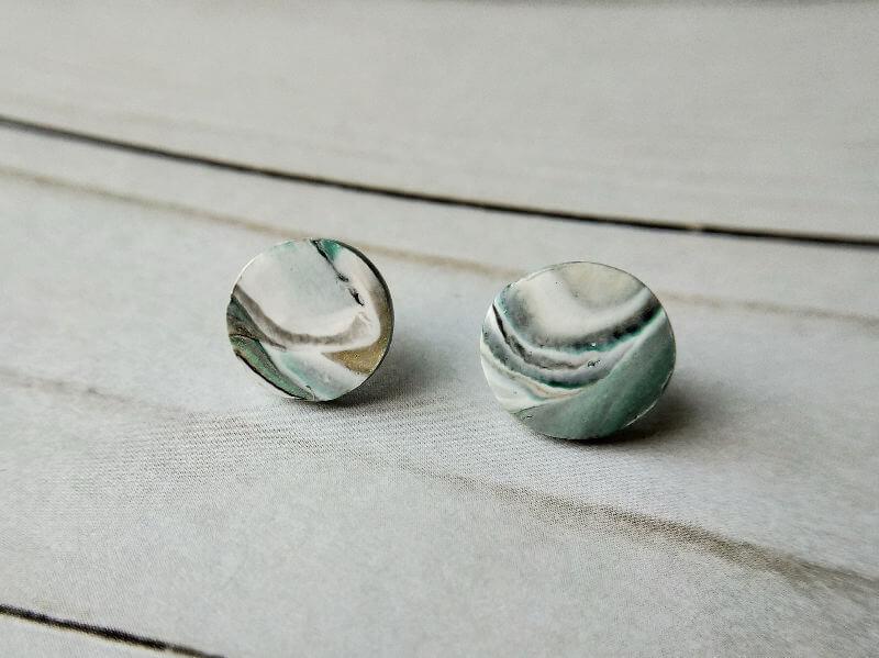 STUD EARRINGS Green and Gold Marbled Stud Earrings
