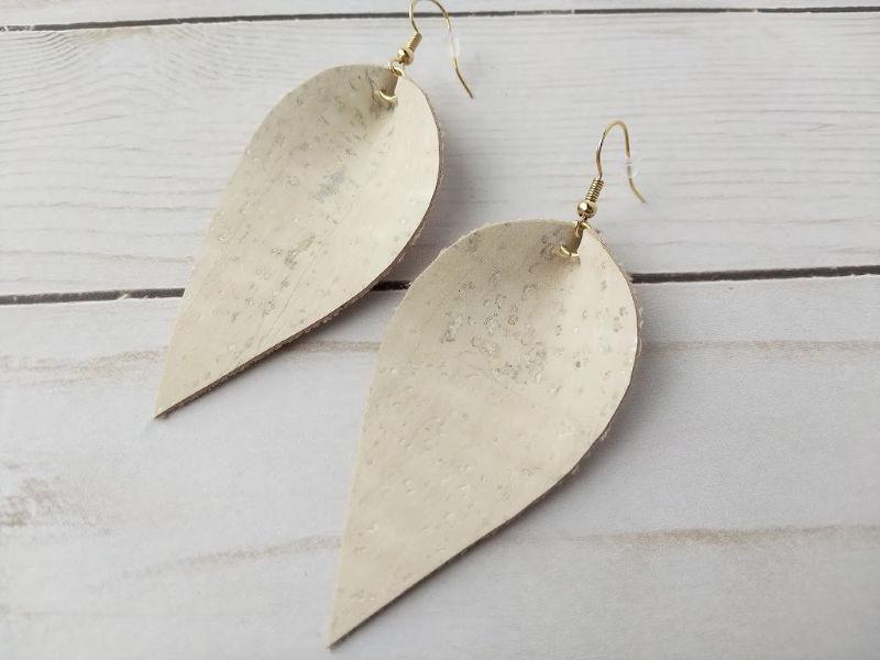 White Cork Pinched Teardrop Earrings